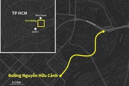 Đường Nguyễn Hữu Cảnh được nâng cao nhất 1,2 m