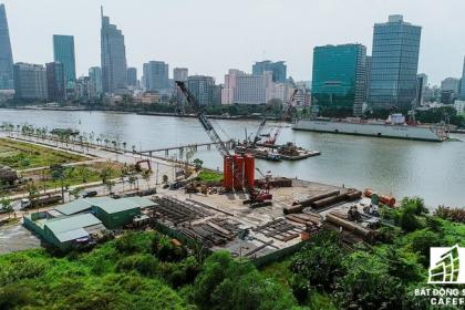 Toàn cảnh dự án cầu Thủ Thiêm 2 đang xây dựng nối khu trung tâm Quận 1 với KĐT Thủ Thiêm